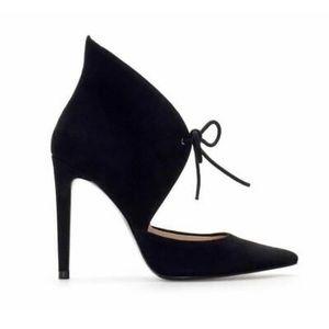 Zara Black Lace Up Heel Shoes, Size 5
